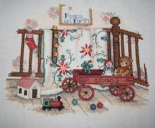 COMPLETED FINISHED CROSS STITCH, PAULA VAUGHAN, PEACE ON EARTH