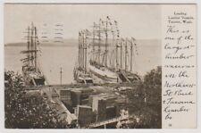 USA postcard - Loading Lumber Vessels, Tacomo, Washington - P/U 1908 (A188)