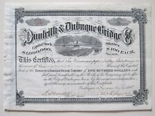New listing Dunleith & Dubuque Bridge Iowa Railroad Stock 1895