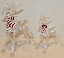 "2 Clear Reindeer Figurine Christmas - Plastic 7"", 5""- New"