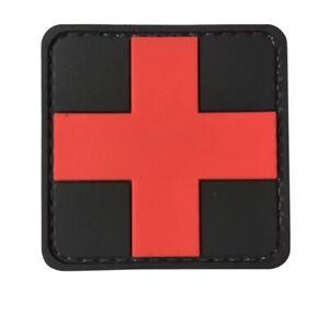 Red Medical Cross Symbol Rubber PVC EMT Medic First Aid Patch Hook Fastener