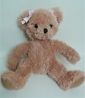 """Russ Prima 9"""" Girl Teddy Bear Soft Toy Plush Beanie Comforter Pink Ribbons EXC"""