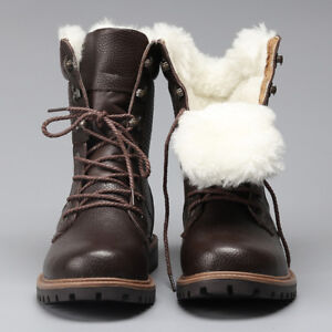 Men Winter Shoes Natural Wool Warmest Genuine Leather Handmade Winter Snow Boots