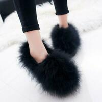 Winter Womens Warm Faux Fur Furry Round Toe Pull Ons Loafers Casual Flat Shoes