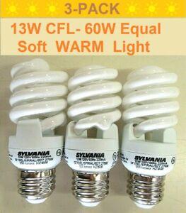 3-Pack 13W CFL (60-Watt Equivalent) E26 2700K Warm Soft White Spiral Light Bulbs