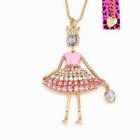 Women's Enamel Crystal Crown Girl Princess Pendant Chain Betsey Johnson Necklace