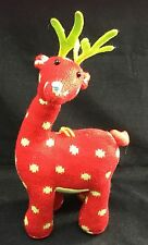 Red Green Polkadot Knit Reindeer Blue Nose Plush Hangable Ornament Antlers 15""