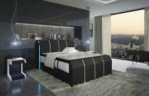 Leder Boxspringbett Komplettbett Bett PARIS Beleuchtung Hotelbett LAGERWARE