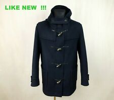 GLOVERALL MENS DUFFLE DUFFEL NAVY BLUE WOOL HOODED COAT size EU-52 UK-42