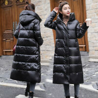 Lady Duck Down Jacket Long Hooded Coats Puffer Parka Thicken Quilted Winter Warm