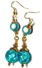 Long Gold Turquoise Earrings Drop Dangle Classy Pierced Hook Glass Bead