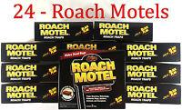 24 Traps Black Flag Roach Motels Cockroach Killer bait Glue Trap Motel lot