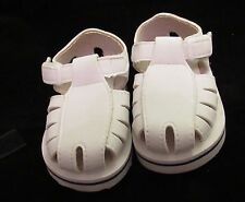 White & Blue quick on off sandals size 2 fits baby/doll 3-6 months crib shoe