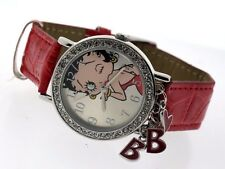 Womens MZ Berger Betty Boops Swarovski Crystal Red Charm Watch