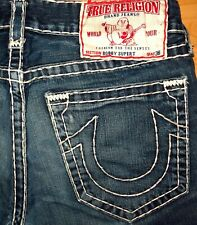 ORIGINAL TRUE RELIGION USED-JEANS BOBBY SUPER T STRAIGHT BLUE W 33 L 34/36 LOGAN