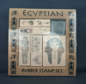 Egyptian Rubber Stamp Set - 9 Stamps and ink pad