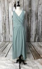 Lands End Womens Maxi Dress Size M 10-12 Green Striped Surplice Wrap Style Knit
