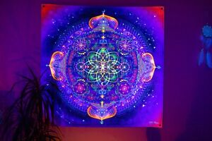Psychedelic Tapestry UV Mandala Blacklight Esoteric Spiritual Trippy Backdrop