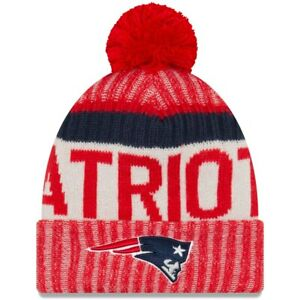 New England Patriots NFL Red New Era Sideline Hat Knit Beanie -One Size Fits All
