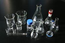 Laborglas Schott Duran Erlenmeyer kolben Mess Becher glas  Reagenz  Chemie