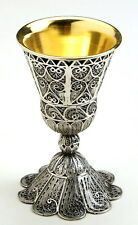 "3.5"" Sterling Silver Wine Cup/Goblet 19C Antique Style Yemenite Filigree Judaica"
