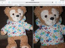 "disney park HIDDEN MICKEY duffy Bear BROWN  2011 12"" Plush Fleece Hoodie EUC"