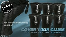 HYBRID HEAD COVERS COMPLETE 6 7 8 9 PW SW SET THICK GOLF CLUB BLACK HEADCOVER
