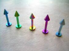 "Spike Labret  Monroe Snakebites Titanium 14g 3/8"" 316L Rainbow"