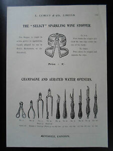 Champagne+Aerated Water Openers Images Copy Print L Lumley & Co Minories London