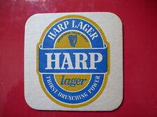 BEER Coaster ~<>~ GUINNESS HARP Lager ~ Thirst Drenching Power ~ Dublin, Ireland