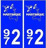 Autocollant plaque auto immatriculation département 972 Martinique