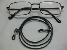 "EXTRA LONG 32"" BLACK 2mm Soft Leather Eyeglass Cord Adjustable End~Holder USA"