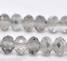 6 donuts 10 x 7,4 mm perles à facettes rondes aplaties gris cristal de Chine