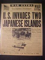 VINTAGE NEWSPAPER HEADLINE ~WORLD WAR 2 JAPANESE ISLANDS TARAWA BATTLE WWII 1943