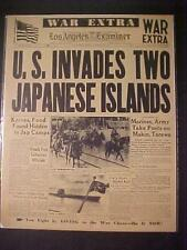 VINTAGE NEWSPAPER HEADLINE ~WORLD WAR 2 US BATTLE INVADES JAPANESE ISLANDS WWII~