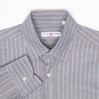 Luciano Barbera Mens Dress Shirt 16/35 Brown Blue Stripe Button Front Cotton