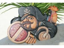 """NEW Pirate Sign Decor DO NOT ENTER 12"""" Wood Indoor Outdoor Parrot Tropical"""