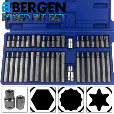 "BERGEN Hex Torx Star & Spline BIT Socket Set 3/8"" & 1/2""dr Long & Short Reach"