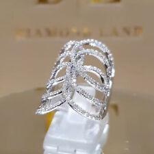 Precioso anillos de boda de plata 925 mujeres Joyería Anillos Zafiro Blanco Talla 5-10