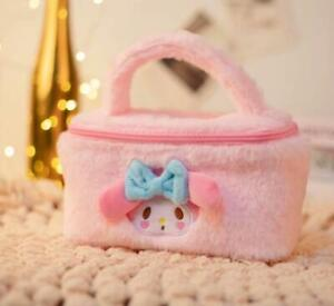 my melody fuzzy Plush Makeup Box Cosmetic Bag Beauty Case handbag fashion