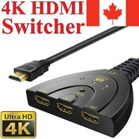 4K 3-Port HDMI Switcher Adapter AV Switch Splitter Converter Hub HDTV PC 2160P