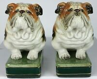 Pair - Vintage Takahashi San Francisco Bulldog Bookends Japanese Porcelain NEW