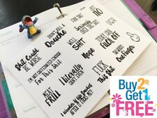 PP366-- FU*K YOU Snarky Adulting Is Hard Planner Stickers 4 Erin Condren (16pcs)