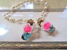 VtG Sweater Clip Guard w/ Small Carved Pink Celluloid Plastic Flowers & Pearls