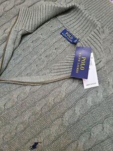 NEW - Polo Ralph Lauren Green Knitted 1/4 Zip Pullover Sweater, Men's 4XLT. B028