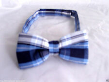 * TOP * - Tartan & GT BLU / white-ready pre-tied poliestere PAPILLON & GAS & P 2 UK & GT & gt1st CLASSE