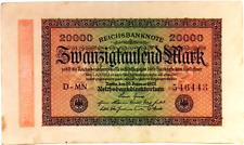 1923 Germany Weimar Republic 20000 Mark Banknote