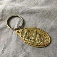 Dallas Texas Keychain Keyring Skyline Bronze Tone Raised Metal