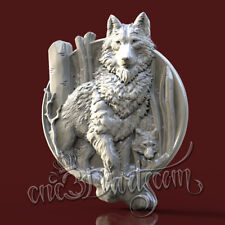 3D STL Model Hunting Wolfs Panel for CNC Router Carving Machine Artcam aspire
