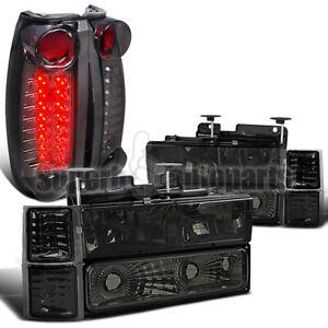 For 1994-1998 Silverado C10 C/K Smoke Head+Bumper Corner+Tinted LED Tail Lamp